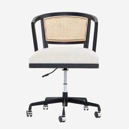 Lisbon Cane Swivel Desk Chair, Brushed Ebony | Pottery Barn (US)
