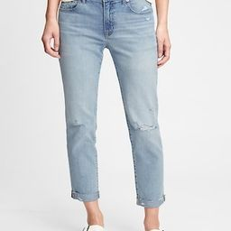 Mid Rise Destructed Girlfriend Jeans With Washwell™   Gap (US)