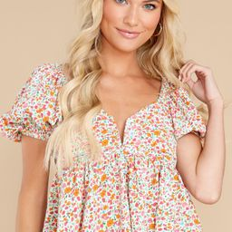 Automatic Love White Floral Print Top   Red Dress