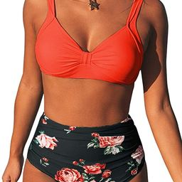 CUPSHE Women's High Waist Bikini Swimsuit Floral Print Knot Two Piece Bathing Suit | Amazon (US)