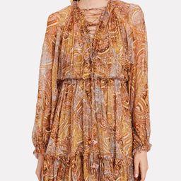 Concert Lace-Up Paisley Chiffon Dress | INTERMIX