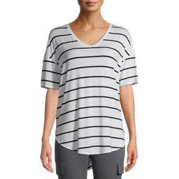 Time and Tru Women's Short Sleeve V-Neck Tunic T-Shirt | Walmart (US)