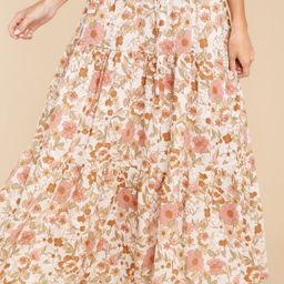 Chasing Your Dreams Blush Floral Print Maxi Skirt | Red Dress