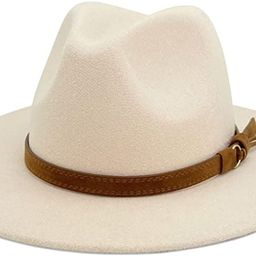 Lisianthus Men & Women Vintage Wide Brim Fedora Hat with Belt Buckle | Amazon (US)