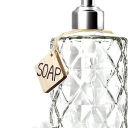 JASAI Diamond Design 12 Oz Glass Soap Dispenser, Kitchen Soap Dispenser with 304 Rust Proof Stain... | Amazon (US)