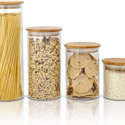 Glass Food Storage Containers with Bamboo Lids - Set of 4 Kitchen Canisters - Candy, Cookie, Rice... | Amazon (US)