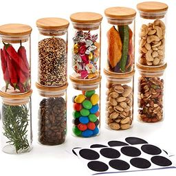 EZOWare 7oz Glass Jars ,10 Bottles Clear Canister Set, Small Air Tight Storage Containers with Na... | Amazon (US)