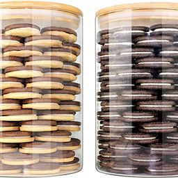 Glass Jars with Bamboo Lids EcoEvo, Glass Food Jars and Canisters Sets, 2 Pack of 100oz | Amazon (US)