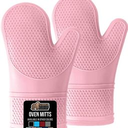 Gorilla Grip Slip and Heat Resistant Silicone Oven Mitts, Soft Quilted Lining, Extra Long, Waterp... | Amazon (US)