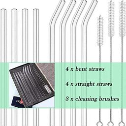 8pcs Glass Drinking Straws, Straight 9 inches x 10mm Bent 8.2 inches x 10mm, Reusable for Hot or ...   Amazon (US)