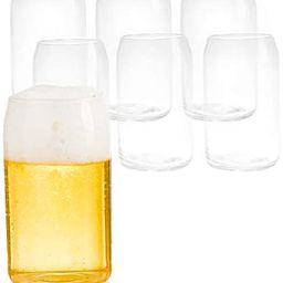 6 Beer Can Glass Cups, 16 oz Can Shaped Drinkware   Amazon (US)