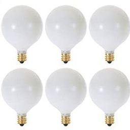 (Pack of 10) G16.5 Decorative (E12) Candelabra Base Globe Shape 120V G16 1/2 Light Bulbs (White, ...   Amazon (US)