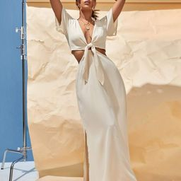 Tie Front Split Hem Dress | SHEIN