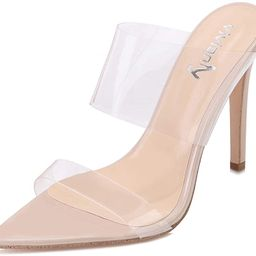 vivianly Clear Pointed Toe Sandals Stiletto Heels Transparent Strap High Heels Slip on Mules for ... | Amazon (US)