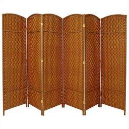 Oriental Furniture 6 Ft Tall Diamond Weave Fiber Room Divider, 6 panel, dark beige   Walmart (US)