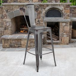 """Commercial Grade 30"""" High Distressed Silver Gray Metal Indoor-Outdoor Barstool with Back [ET-3534...   Walmart (US)"""