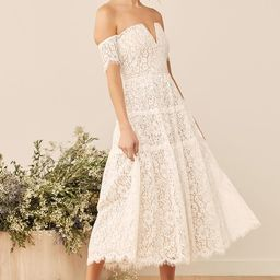 Absolutely Stunning White Lace Off-the-Shoulder Midi Dress | Lulus (US)