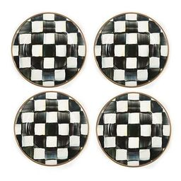 Courtly Check Enamel Canape Plates - Set of 4 | MacKenzie-Childs