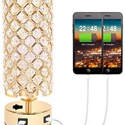 USB Crystal Table Lamp, Gold Table Lamp with Dual USB Charging Ports, Bedside Light Metal Base St...   Amazon (US)