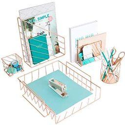 Blu Monaco Rose Gold Desk Organizer - 5 Piece Desk Accessories Set - Letter - Mail Organizer, Pap...   Amazon (US)