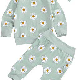 3Pcs Infant Baby Girl Fall Outifts Long Sleeve Daisy Sweatshirt Tops Shirts & Pants Sets Cute Clo... | Amazon (US)