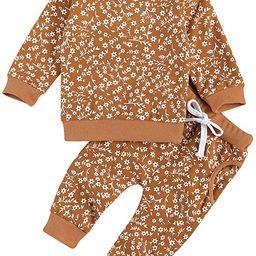 Baby Girl Boy Floral Sweatsuit Set Long Sleeve Sweatshirt Top Pants 2Pcs Tracksuit Jogging Clothe... | Amazon (US)