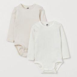 2-pack Long-sleeved Bodysuits | H&M (US)
