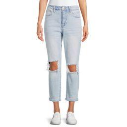 No Boundaries Juniors Super High Rise Destructed Mom Jeans | Walmart (US)