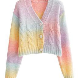 'Henley' Rainbow Tie Dye Button Down Cardigan | Goodnight Macaroon