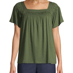 Time and Tru Women's Square Neck T-Shirt | Walmart (US)
