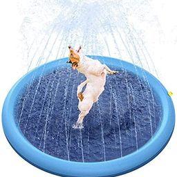 Petslovfun Non-Slip Pet Splash Sprinkler Pad for Dogs Kids Chinldren, Pets Splash Bath Pool Thick... | Amazon (US)