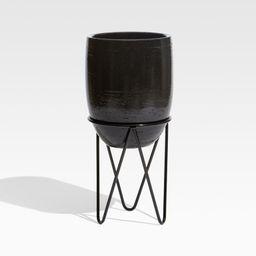 Jacinta Large Black Indoor/Outdoor Planter + Reviews | Crate and Barrel | Crate & Barrel