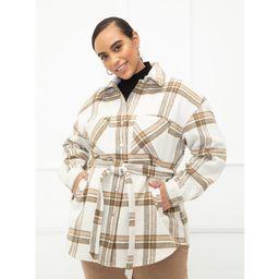 ELOQUII Elements Women's Plus Size Plaid Belted Shirt Jacket   Walmart (US)