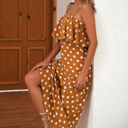 Coeur de Vague Women's Maxi Dresses Yellow - Yellow Polka Dot Ruffle-Top Maxi Dress - Women   Zulily
