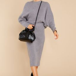 Better Times Charcoal Grey Sweater   Red Dress