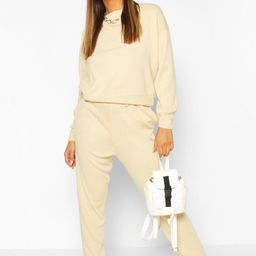 Womens Slash Neck Knitted Jogger Lounge Set - Cream - M   Boohoo.com (US & CA)