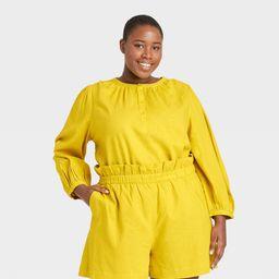 Women's Plus Size Balloon Long Sleeve Top - Who What Wear Yellow 3X   Target