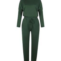 Rene Lion Women's Sweatpants Dark - Dark Green Mock Neck Long-Sleeve Tee & Joggers   Zulily