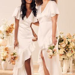 Eternal Bond White Satin Ruffled Flutter Sleeve Maxi Dress | Lulus (US)