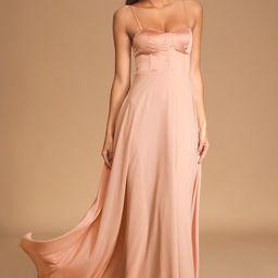 Best Part Of Me Blush Satin Bustier Maxi Dress   Lulus (US)