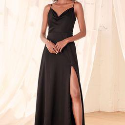 Formal Invitation Black Satin Cowl Neck Maxi Dress   Lulus (US)