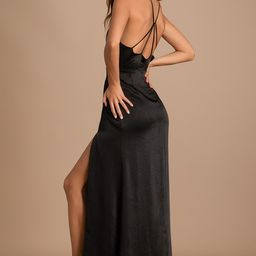 Make it Elegant Black Satin Strappy Maxi Dress | Lulus (US)