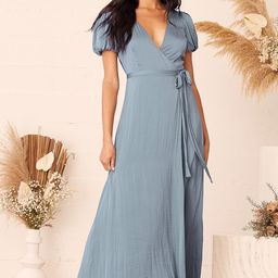Always Tell Me Dusty Blue Satin Puff Sleeve Wrap Maxi Dress | Lulus (US)