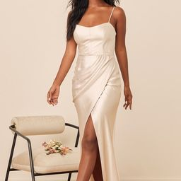 Ready To Be Remarkable Champagne Satin Mermaid Maxi Dress   Lulus (US)