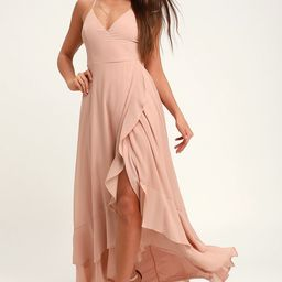 In Love Forever Nude Lace-Up High-Low Maxi Dress | Lulus (US)