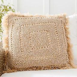 Faux Natural Fiber Crochet Fringe Indoor/Outdoor Pillow | Pottery Barn (US)