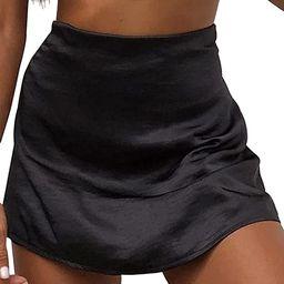 LYANER Women's Casual Floral Print Satin Silk High Waist Zipper Mini Short Skirt | Amazon (US)