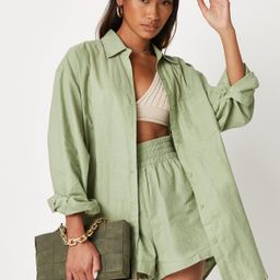 Sarah Ashcroft x Missguided Sage Co Ord Linen Extreme Oversized Shirt | Missguided (US & CA)