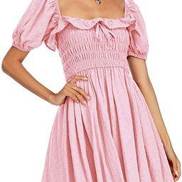 R.Vivimos Women's Summer Linen Short Sleeve Ruffled Floral Print Swing Dress   Amazon (US)