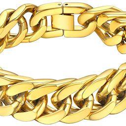 "ChainsHouse Stainless Steel Franco Link Bracelet, 8mm/12mm/17mm Width, 7.5""/8.3""/9"", 18K Gold Pla...   Amazon (US)"